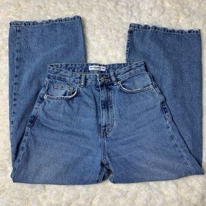 Pull&Bear High Rise Wide Leg Crop Jeans